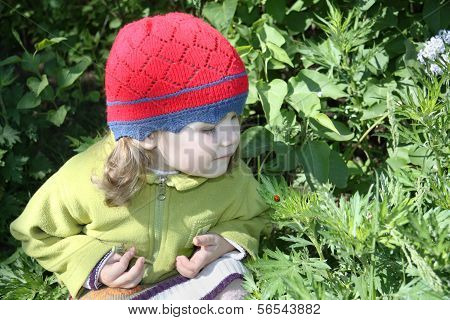 Little Girl Looking At Ladybug On Green Leaf In Sunny Spring Day.