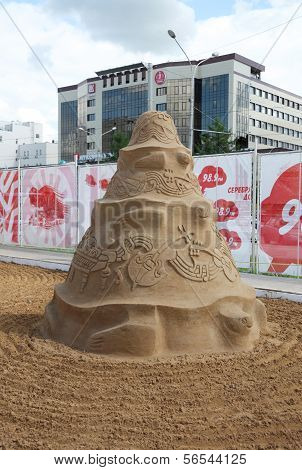 Perm - June 10: Sand Sculpture Music At Festival White Nights, On June 10, 2012 In Perm, Russia.