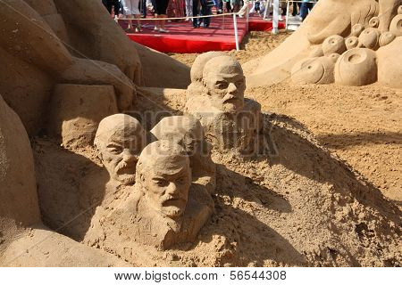 Perm - June 10: Sand Sculpture Lenin At Festival White Nights, On June 10, 2012 In Perm, Russia.