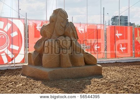 Perm - June 7: Sand Sculpture Love Of Chekhov By Ingrid Struensee At Festival White Nights, On June