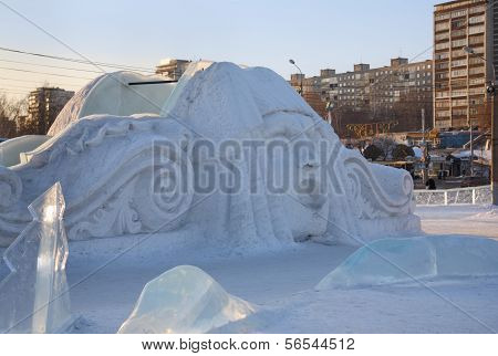 Perm - February 17: Big Face At Slide In Ice Town, On February 17, 2012 In Perm, Russia. During Wint