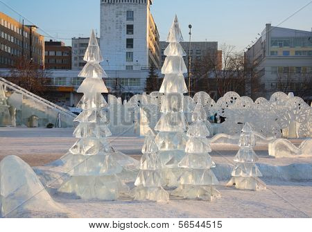 Perm - February 17: Firs In Ice Town, On February 17, 2012 In Perm, Russia. During Winter Holidays (