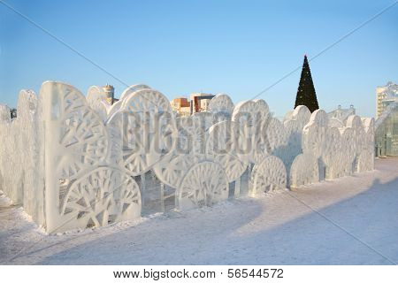 Perm - February 17: Trees Wall In Ice Town, On February 17, 2012 In Perm, Russia. During Winter Holi