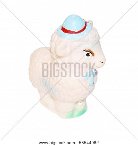 Little Pink Rubber Toy Sheep In Hat Isolated On White Background.