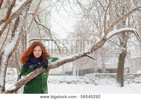 Pretty Girl In Blue Scarf Clings To Tree Outdoor At Winter Day In Park