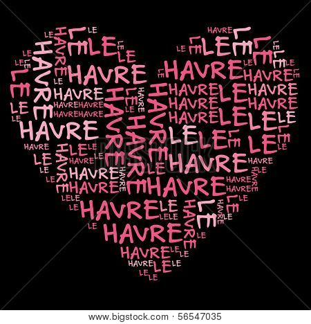Le Havre word cloud in pink letters against black background