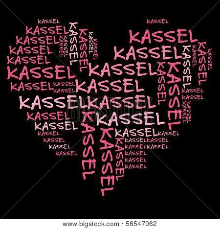 Kassel word cloud in pink letters against black background