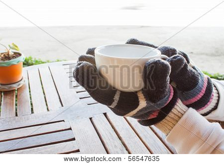 Hot Cup Of Coffee In Winter