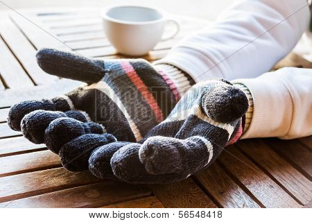 Warmly Hands In Wool Gloves