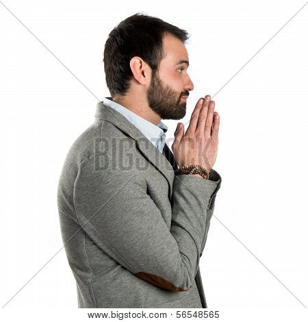 Men Pleading Over White Background
