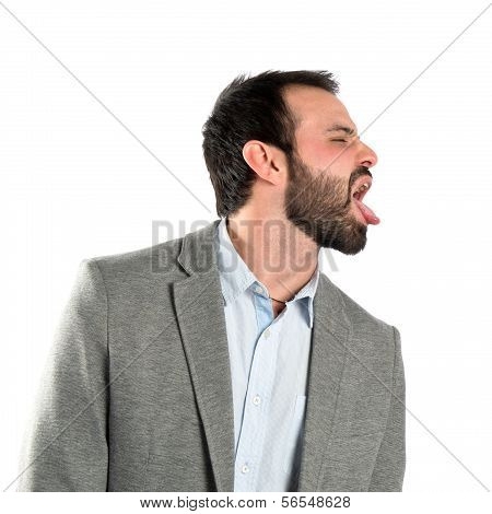Businessman Making A Mockery Over Isolated Background