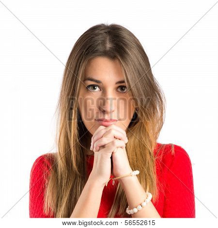 Young Girl Pleading Over White Background