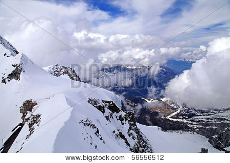 View Of Snow Covered Jungfrau In Swiss Alps