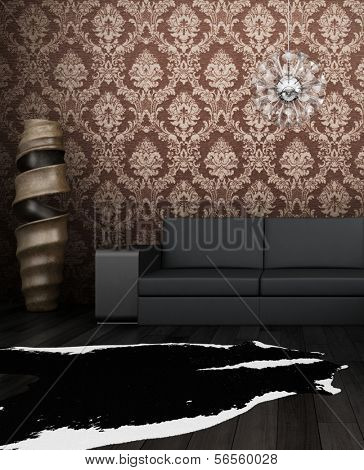 3D rendering of loft apartment interior with couch and brown wallpaper