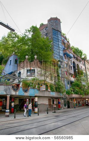 VIENNA, AUSTRIA - 28TH APRIL: Facade of the Hundertwasser House on April 28th 2013 in Vienna, Austria. Friedensreich Hundertwasser was an Austrian artist.