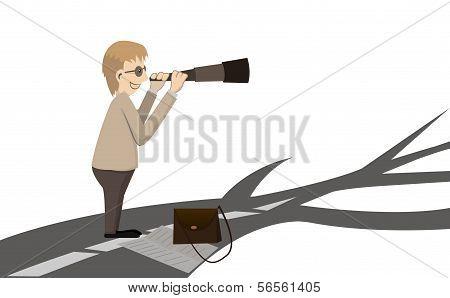Man Looking At The Way By Binocular