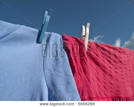 Washing On Line - Blue Sky