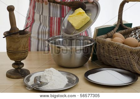 Person Baking A Cake