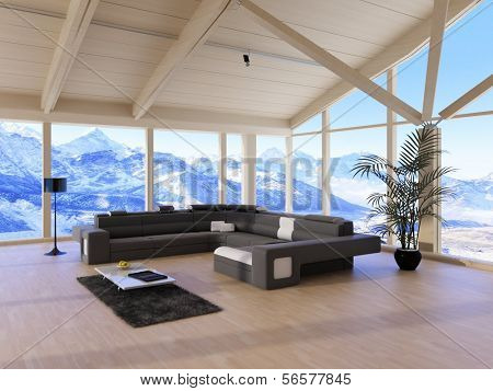 Modern Loft Living Room with black couch and mountain range view