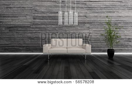 3D rendering of white couch against gray stone wall