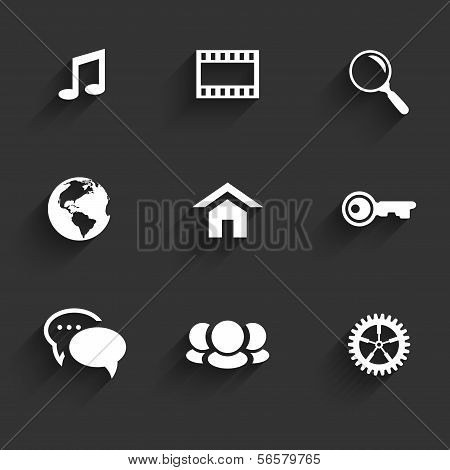 Modern Communication Signs And Icons On Dark Gray