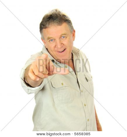 Middle Aged Man Pointing