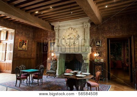 Interior decoration in castle of Azay-le-Rideau. Loire Valley France