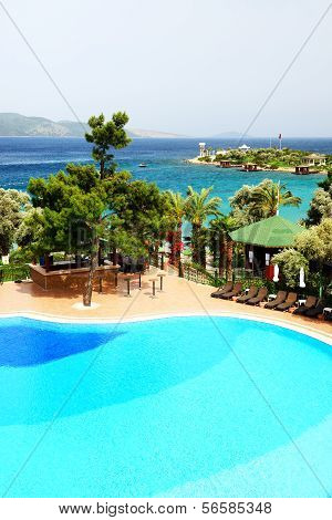 Swimming Pool Near Beach At Turkish Resort, Bodrum, Turkey