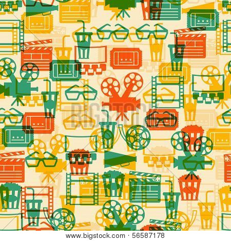 Seamless pattern of movie elements and cinema icons.