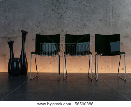 Modern living room interior with three black chairs against illuminated wall