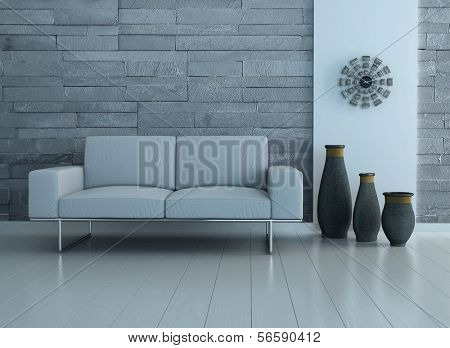 Modern living room interior with white couch and three vases against stone wall