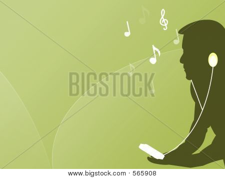Male Listening To Music With His Mp3 Player