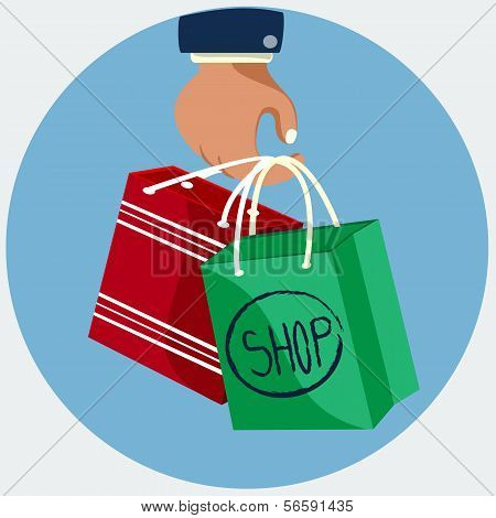 Hand with shopping bag, flat icon