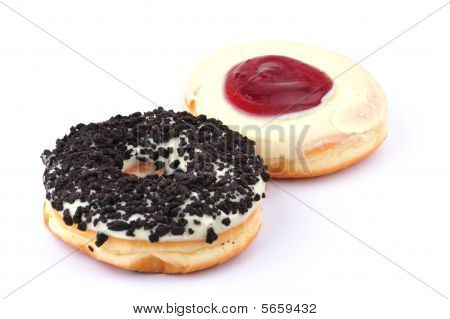 two sweet donuts isolated in white background