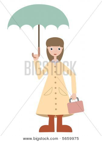 Girl Going To School Wearing Rain Gear Holding Lunch Box