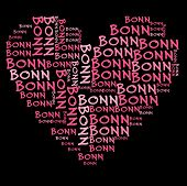 Bonn word cloud in pink letters against black background