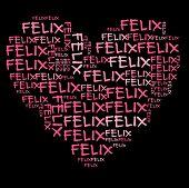 Постер, плакат: Феликс слово облако в розовые буквы на черном фоне