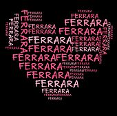 stock photo of ferrara  - Ferrara word cloud in pink letters against black background - JPG