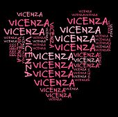 image of vicenza  - Vicenza word cloud in pink letters against black background - JPG