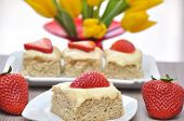 stock photo of custard  - Homemade Strawberry Vanilla Short Cake with custard - JPG