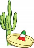 picture of mexican fiesta  - Vector image of typical Mexican sombrero and cactus - JPG