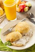 foto of buttermilk  - Homemade Buttermilk Biscuits and Gravy for Breakfast - JPG