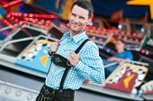 picture of lederhosen  - Young man posing in traditional Bavarian Lederhosen - JPG