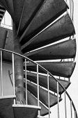 image of spiral staircase  - the metal spiral staircase outside the building - JPG