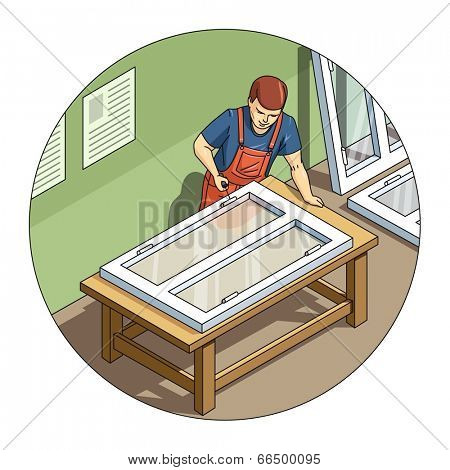 Worker make window. Eps10 vector illustration. Isolated on white background