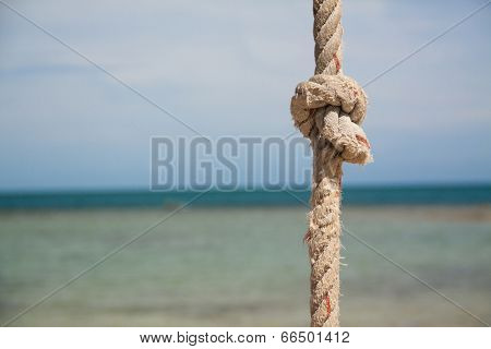 knot on the rope on the background of the blue sea