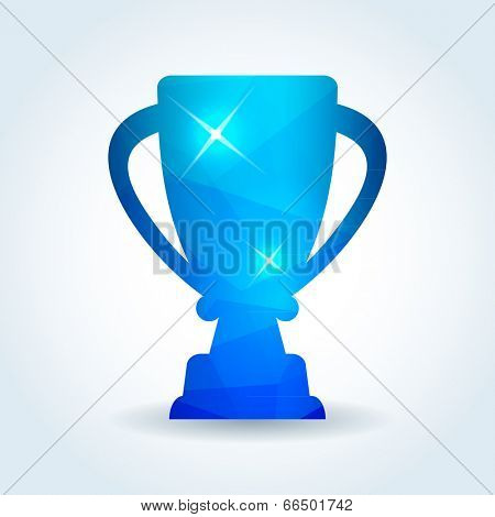 winner trophy cup icon with modern triangle pattern