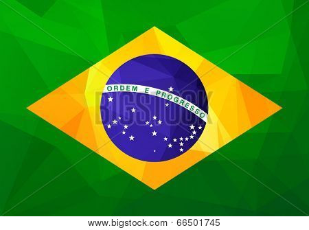 Flag of Brazil with modern triangle patterns