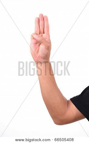 Man Show 3 Finger For Anti Dictator