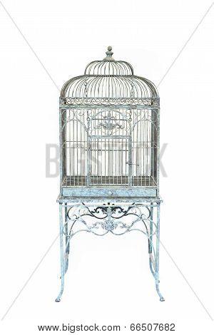 Big Bird Cage Vintage Style Isolated Background